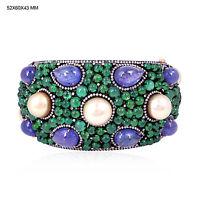 925 Sterling Silver Emerald Pearl Tanzanite Gold Bangle Bracelet Diamond Jewelry