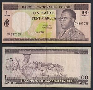 Congo 1 zaire on 100 makuta 1970 BB/VF  C-09