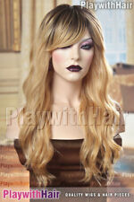 HOT Long Tousled Wavy Loose Waves Wig WOW Blonde Black Roots Ombre Balayage