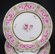 Incredible Set of 10 Hand Painted Early Wedgwood Cabbage Roses Porcelain Plates