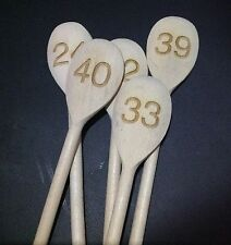 Set of 5 Table Nnumbers Engraved Wooden Spoon ,Wedding, restaurant, hotel