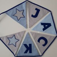 Personalised Blue & Grey Fabric Bunting ~ Name Gift / Baby Boy ~ Nursery/Kids