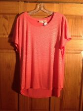 Chicos Top Blouse Orange Gold Scoop Neck Short Sleeve Womans Size 3