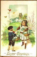 Early 1900's Embossed Easter Postcard Girls Carrying Basket with Eggs