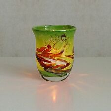 Windlicht Glas Dekoration Teelicht Sattgrün mit buntem unikatem Motiv