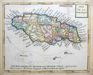 JAMAICA  BY JOSEPH DE LAPORTE  c1786  SCARCE GENUINE ANTIQUE ENGRAVED MAP