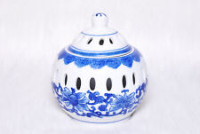 Vintage Collectible Blue & White China Floral Ginger Jar Candle Holder