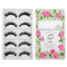 5 Pair Black Handmade Natural Mink Long Thick Eye Lashes False Eyelashes Makeup