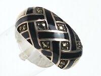 Design Silber Ring 925 Sterling Silber Art Deco Emaille Markasiten RG 58/18,4mm