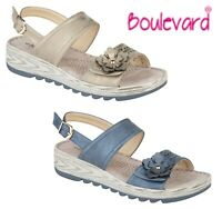 LADIES Halter Back Buckle Adjustable Flower Sandals - Gold Blue Size 3 4 5 6 7 8