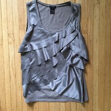 Loft Women's Tank Top Blouse with Ruffles Sz. Small $74.99 Grey Pre-owned