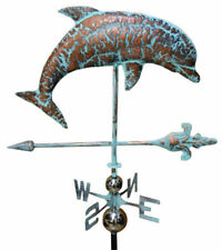 Handcrafted 3 Dimensional Dolphin Weathervane Copper Patina Finish