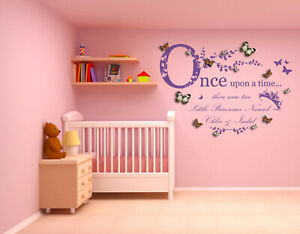 Personalised, Once Upon a Time 2 Princesses 3D Butterflies Wall Sticker Decal