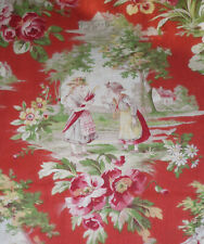 Antique French Figural Scenic Floral Cotton Fabric ~Children~Persimmon Red Green