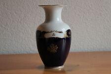 Reichenbach Kobalt Vase GDR Goldrand Malerei 18,5 cm Hoch