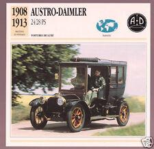 1908-1913 Austro-Daimler 24/28 PS Austria Car Photo Spec Sheet Info French Card