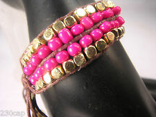 JACK E OHS NYC  Friendship Bracelet Raspberry Pink & Gold Beaded Wrap and Tie