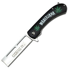 "Tac-Force   Marijuana - Legalize It "" Spring Assist Knife - Razor Blade"