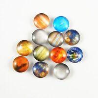 40PCS Mixed Patterns Glass Round Cameo Cabochons Flat Back 16*16*5mm DIY 38764