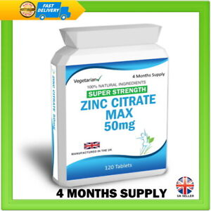 Zinc Tablets Citrate Max Strength 50mg Immune Support Hair Nails Skin Eyes