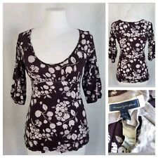 American Eagle Outfitters XS Purple 3/4 Sleeve Empire Waist Top White Floral
