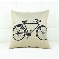Retro Vintage Bicycle Cushion Cover Printed Canvas Home Bedroom Decor Bike