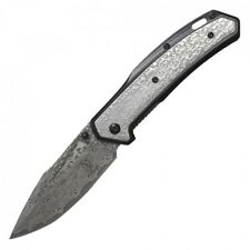 "Spring-Assist Folding Knife | 3.5"" Damascus Etch Stainless Blade Black Gray Edc"