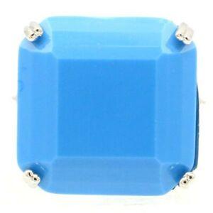 Super Big European Design Square Gemstone Blue Turquoise CZ Silver Ring 7.75