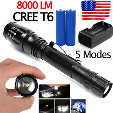 8000LM Zoomable 5-Mode CREE XML T6 LED Flashlight Torch Lamp Light 18650&Charger