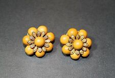 Vintage Signed Orange Bead Miriam Haskell Clip On Earrings - 12g Total