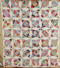 GORGEOUS Vintage 40's Crazy Touching Stars Kite Patchwork Antique Quilt!