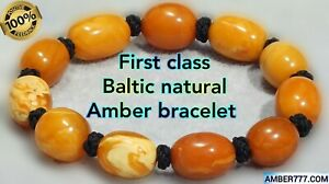 FIRST CLASS ANTIQUE BALTIC NATURAL MARBLE WHITE YELLOW COLOR AMBER BRACELET