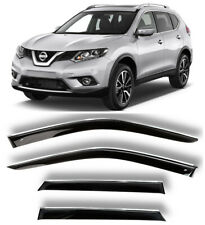 Chrome Trim Window Visors Guard Vent Deflectors For Nissan X-Trail (T32) 2014-