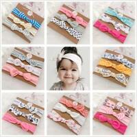 3pcs/set  Baby Girl Headband Ribbon Bow Elastic Hair Band Cotton Elastic Newborn