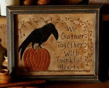 Primitive Pumpkin & Black Crow Stitchery Sampler UNCUT by Threadbare Primitives
