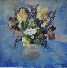 Russian Ukrainian Oil Painting Impressionism Still Life irises