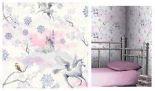Arthouse Fairytale Lilac Unicorn Castle White Kids Wallpaper, 667801 SAMPLE ONLY
