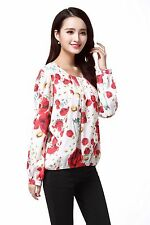 Women's Poppy Flower Print Chiffon Blouses Size UK 20