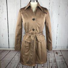 Anthropologie TRACY REESE Plenty Coat Jacket Sz S Trench Peplum Belt Tan Modern