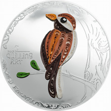 Cook 2017 Quilling Art Bird 2 Dollars Colour Silver Coin,Proof