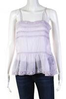 Isabel Marant Etoile Lace Trim Square Neck Tank Top Purple Cotton Size FR 36