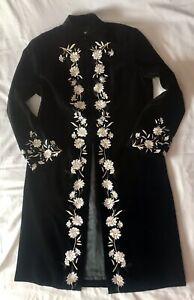 Stunning Vintage Laura Ashley Flower Embroidered Black Long Velvet Coat Size 16