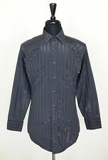 Panhandle Slim Mens M 15.5 34 Western Shirt Gray Striped Long Sleeve Snaps