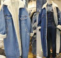 Women's Winter Jeans Fleece Jackets Lamb Wool Long Denim Ladies Coat Oversize DI