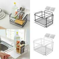 Kitchen Sink Faucet Sponge Soap Basket Cloth Drain Storage Holder Rack NW H5P1