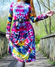 Tie Dye Midi Dress Festival Long Sleeve 90's Grunge Hipster Summer Hippie Hippy