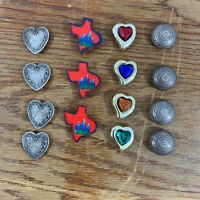 Lot of 15 Button Covers Vintage Texas Bluebonnets Hearts Round Silver Tone