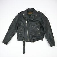 Vintage PLG Leather Motorcycle Jacket Full Zip Black Mens size 42