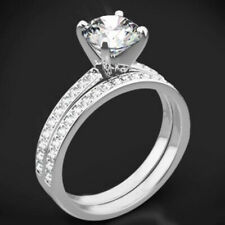 2.44Ct Diamond Wedding Band Set 14K Hallmarked White Gold Size P Q R