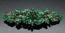 EMERALD GREEN Wedding Crystal Hair Comb Clip Barrette Long 7cm Bridal Formal
